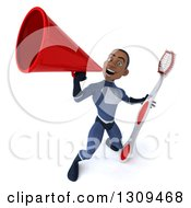 Clipart Of A 3d Young Black Male Super Hero Dark Blue Suit Announcing Upwards With A Megaphone And Giant Toothbrush Royalty Free Illustration