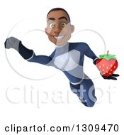 Clipart Of A 3d Young Black Male Super Hero Dark Blue Suit Flying With A Strawberry Royalty Free Illustration