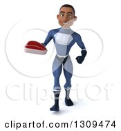 Clipart Of A 3d Young Black Male Super Hero Dark Blue Suit Walking And Holding A Beef Steak Royalty Free Illustration