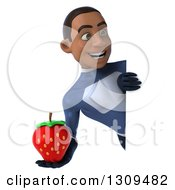 Clipart Of A 3d Young Black Male Super Hero Dark Blue Suit Holding A Strawberry And Looking Around A Sign Royalty Free Illustration