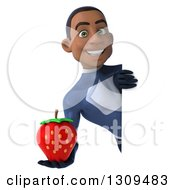 Clipart Of A 3d Young Black Male Super Hero Dark Blue Suit Holding A Strawberry Around A Sign Royalty Free Illustration