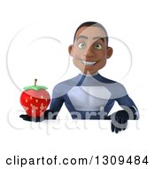 Clipart Of A 3d Young Black Male Super Hero Dark Blue Suit Holding A Strawberry Over A Sign Royalty Free Illustration