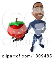 Clipart Of A 3d Young Black Male Super Hero Dark Blue Suit Holding Up A Strawberry Royalty Free Illustration