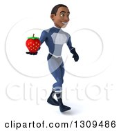Clipart Of A 3d Young Black Male Super Hero Dark Blue Suit Walking Slightly Right And Holding A Strawberry Royalty Free Illustration