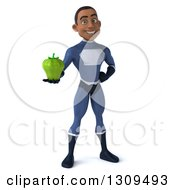 Clipart Of A 3d Young Black Male Super Hero Dark Blue Suit Holding A Green Bell Pepper Royalty Free Illustration