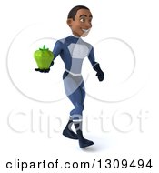 Clipart Of A 3d Young Black Male Super Hero Dark Blue Suit Walking Slightly Right And Holding A Green Bell Pepper Royalty Free Illustration