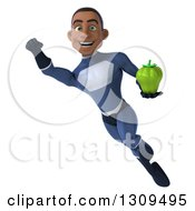 Clipart Of A 3d Young Black Male Super Hero Dark Blue Suit Flying And Holding A Green Bell Pepper Royalty Free Illustration