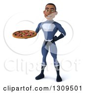 Clipart Of A 3d Young Black Male Super Hero Dark Blue Suit Holding A Pizza Royalty Free Illustration
