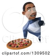 Clipart Of A 3d Young Black Male Super Hero Dark Blue Suit Holding A Pizza Around A Sign Royalty Free Illustration