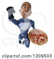 Clipart Of A 3d Young Black Male Super Hero Dark Blue Suit Flying And Holding A Pizza Royalty Free Illustration