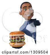 Clipart Of A 3d Young Black Male Super Hero Dark Blue Suit Holding A Double Cheeseburger Around A Sign Royalty Free Illustration