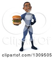 Clipart Of A 3d Young Black Male Super Hero Dark Blue Suit Holding A Double Cheeseburger Royalty Free Illustration