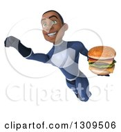 Clipart Of A 3d Young Black Male Super Hero Dark Blue Suit Flying And Holding A Double Cheeseburger 2 Royalty Free Illustration