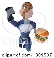 Clipart Of A 3d Young Black Male Super Hero Dark Blue Suit Flying And Holding A Double Cheeseburger Royalty Free Illustration