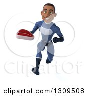 Clipart Of A 3d Young Black Male Super Hero Dark Blue Suit Sprinting And Holding A Beef Steak Royalty Free Illustration