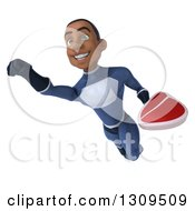 Clipart Of A 3d Young Black Male Super Hero Dark Blue Suit Flying And Holding A Beef Steak Royalty Free Illustration