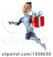 Clipart Of A 3d Young Brunette White Male Super Hero In A Dark Blue Suit Flying Pointing And Holding A Gift Royalty Free Illustration by Julos