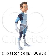 Clipart Of A 3d Young Brunette White Male Super Hero In A Dark Blue Suit Facing Right Royalty Free Illustration by Julos