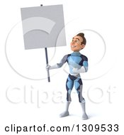 Clipart Of A 3d Young Brunette White Male Super Hero In A Dark Blue Suit Holding Up And Pointing To A Blank Sign Royalty Free Illustration by Julos