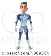 Clipart Of A 3d Young Brunette White Male Super Hero In A Dark Blue Suit Royalty Free Illustration