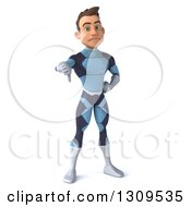 Clipart Of A 3d Young Brunette White Male Super Hero In A Dark Blue Suit Giving A Thumb Down Royalty Free Illustration by Julos