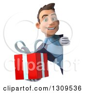 Clipart Of A 3d Young Brunette White Male Super Hero In A Dark Blue Suit Holding A Gift Around A Sign Royalty Free Illustration by Julos