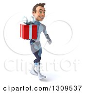 Clipart Of A 3d Young Brunette White Male Super Hero In A Dark Blue Suit Walking Slightly To The Right And Holding A Gift Royalty Free Illustration by Julos