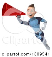 Clipart Of A 3d Young Brunette White Male Super Hero In A Dark Blue Suit Flying And Announcing With A Megaphone Royalty Free Illustration by Julos