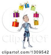 Clipart Of A 3d Young Brunette White Male Super Hero In A Dark Blue Suit Facing Right Looking Up And Juggling Gifts Royalty Free Illustration by Julos