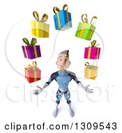 Clipart Of A 3d Young Brunette White Male Super Hero In A Dark Blue Suit Looking Up And Juggling Gifts Royalty Free Illustration by Julos