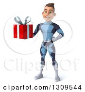 Clipart Of A 3d Young Brunette White Male Super Hero In A Dark Blue Suit Holding A Gift Royalty Free Illustration by Julos