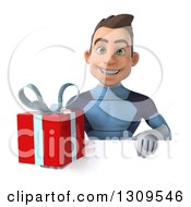 Clipart Of A 3d Young Brunette White Male Super Hero In A Dark Blue Suit Holding A Gift Over A Sign Royalty Free Illustration by Julos