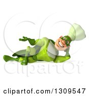 Clipart Of A 3d Green Caucasian Male Super Chef Resting On His Side And Presenting Royalty Free Illustration