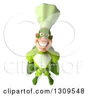 Clipart Of A 3d Green Caucasian Male Super Chef Smiling Upwards Royalty Free Illustration
