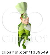 Clipart Of A 3d Green Caucasian Male Super Chef Facing Right And Smiling Royalty Free Illustration