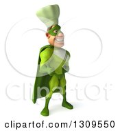 Clipart Of A 3d Green Caucasian Male Super Chef Facing Right And Giving A Thumb Up Royalty Free Illustration