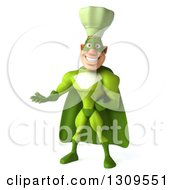 Clipart Of A 3d Green Caucasian Male Super Chef Presenting Royalty Free Illustration