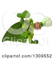 Clipart Of A 3d Green Caucasian Male Super Chef Looking Down Or Kicking Royalty Free Illustration