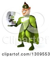 Clipart Of A 3d Green Caucasian Male Super Chef Facing Left And Holding A Euro Symbol Royalty Free Illustration
