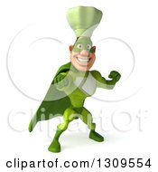 Clipart Of A 3d Green Caucasian Male Super Chef Punching Royalty Free Illustration