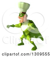 Clipart Of A 3d Green Caucasian Male Super Chef Punching To The Left Royalty Free Illustration