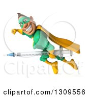 Clipart Of A 3d Muscular White Male Super Hero In A Green And Yellow Suit Flying To The Left Smiling And Holding A Vaccine Syringe Royalty Free Illustration