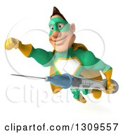 Clipart Of A 3d Muscular White Male Super Hero In A Green And Yellow Suit Flying Slightly To The Left Smiling And Holding A Vaccine Syringe Royalty Free Illustration