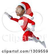 Clipart Of A 3d Young Black Male Christmas Super Hero Santa Facing Left And Flying Royalty Free Illustration by Julos