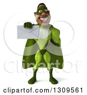 Clipart Of A 3d Buff Male Black Super Hero In Green Holding Out An Envelope Royalty Free Illustration