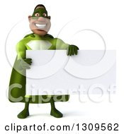Clipart Of A 3d Buff Male Black Super Hero In Green Holding A Blank Sign Royalty Free Illustration