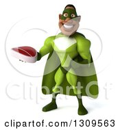 Clipart Of A 3d Buff Male Black Super Hero In Green Holding A Beef Steak Royalty Free Illustration by Julos