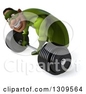 Clipart Of A 3d Buff Male Black Super Hero In Green Bending Over Smiling And Picking Up A Barbell Royalty Free Illustration by Julos