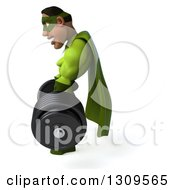Clipart Of A 3d Buff Male Black Super Hero In Green Facing Left And Lifting A Barbell Royalty Free Illustration by Julos