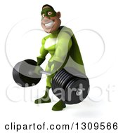 Clipart Of A 3d Buff Male Black Super Hero In Green Facing Slightly Left And Lifting A Barbell Royalty Free Illustration by Julos